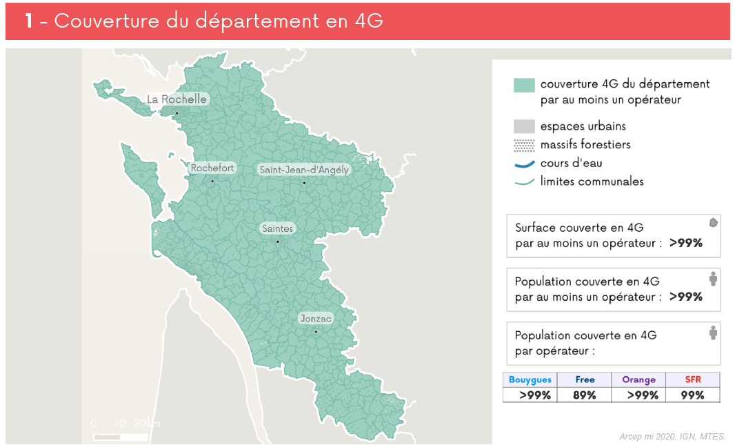 Example: 4G coverage map for the Charente department (Q2 2020)